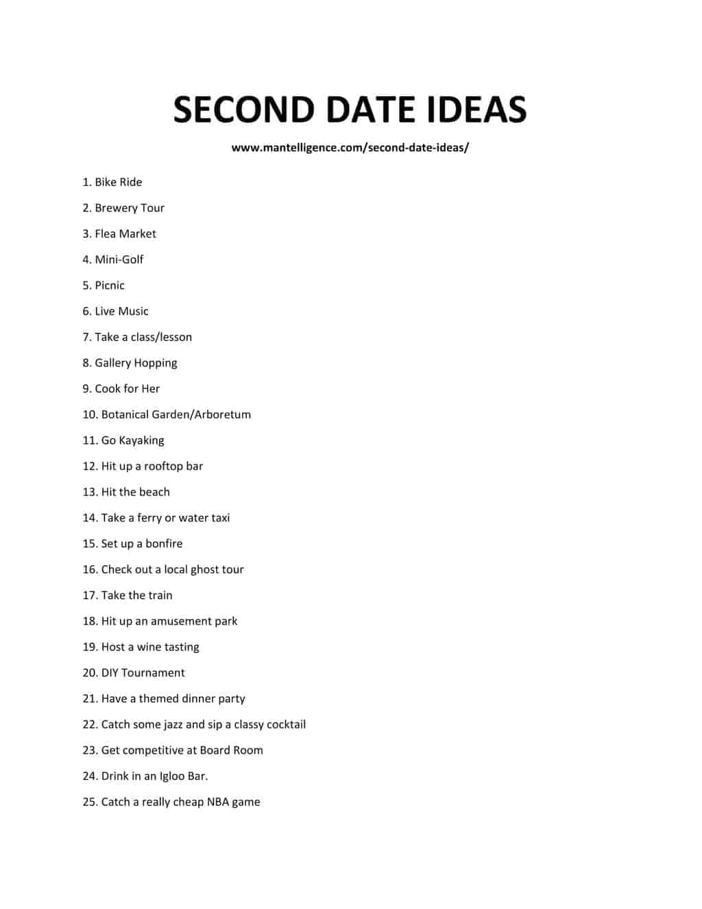 Downloadable list of SECOND DATE IDEAS