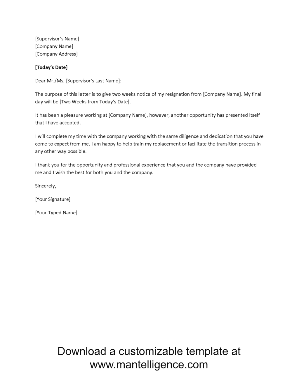 3 highly professional two weeks notice letter templates for Written notice letter template