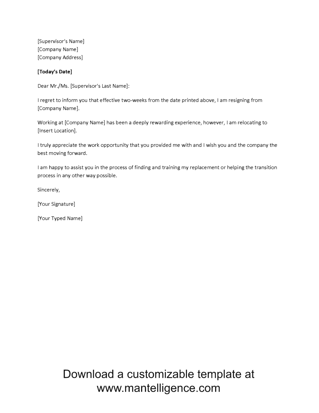 Relocation Two Weeks Notice Letter Template Comp