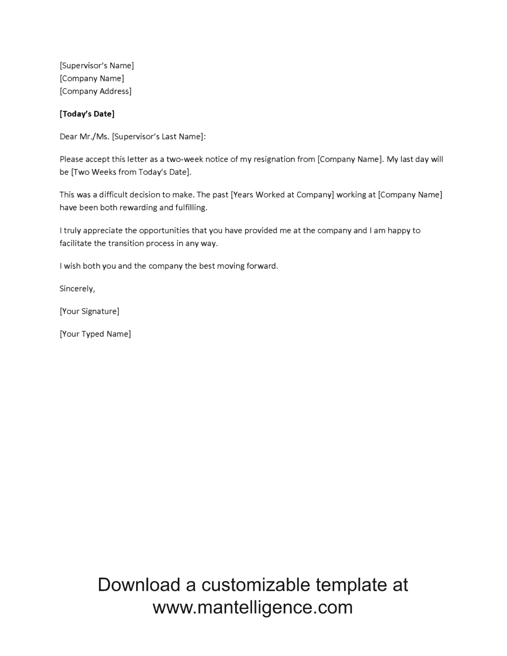 vague two weeks notice letter template comp