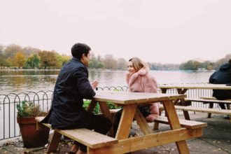 man and woman having a date