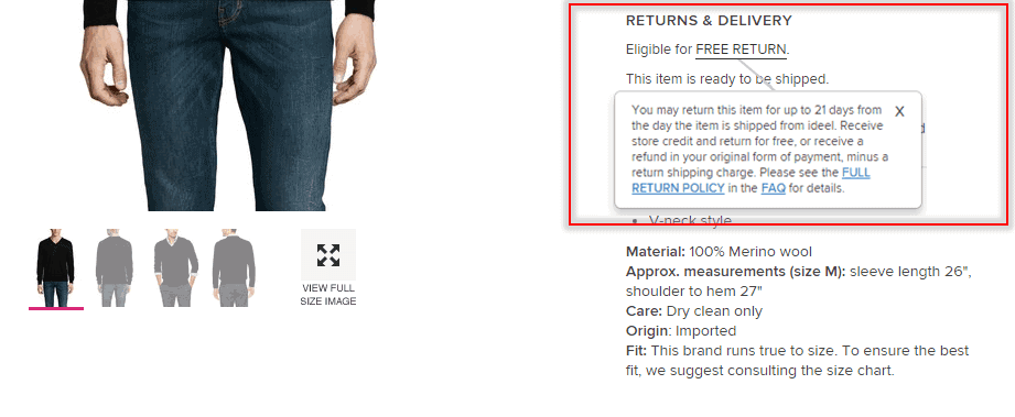 how to buy clothes online return policy