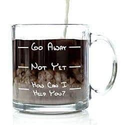 go away funny glass coffee mug