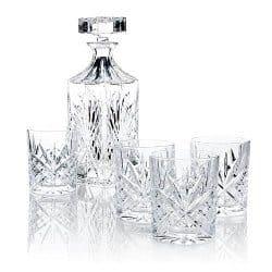 james scott 5 pc crystal whiskey decanter bar set