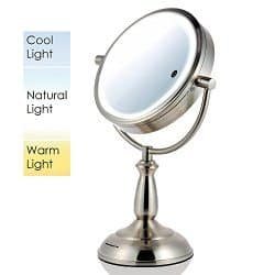 ovente tabletop 10x magnification makip mirror with 3 tone led