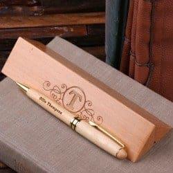personalized wood desktop pen