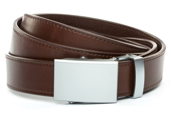 Anson Belt & Buckle Vegetable Tanned Chocolate Leather Belt 1