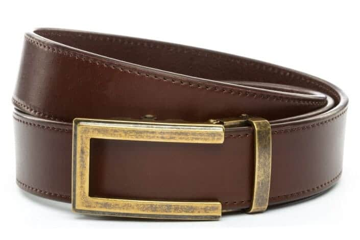 Anson Belt & Buckle Vegetable Tanned Chocolate Leather Belt 2