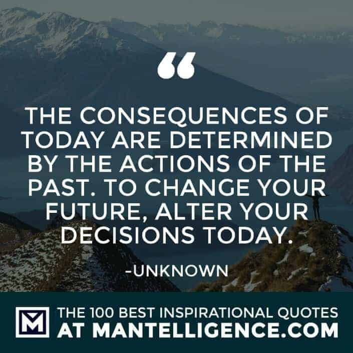 inspirational sayings - The consequences of today are determined by the actions of the past. To change your future, alter your decisions today.