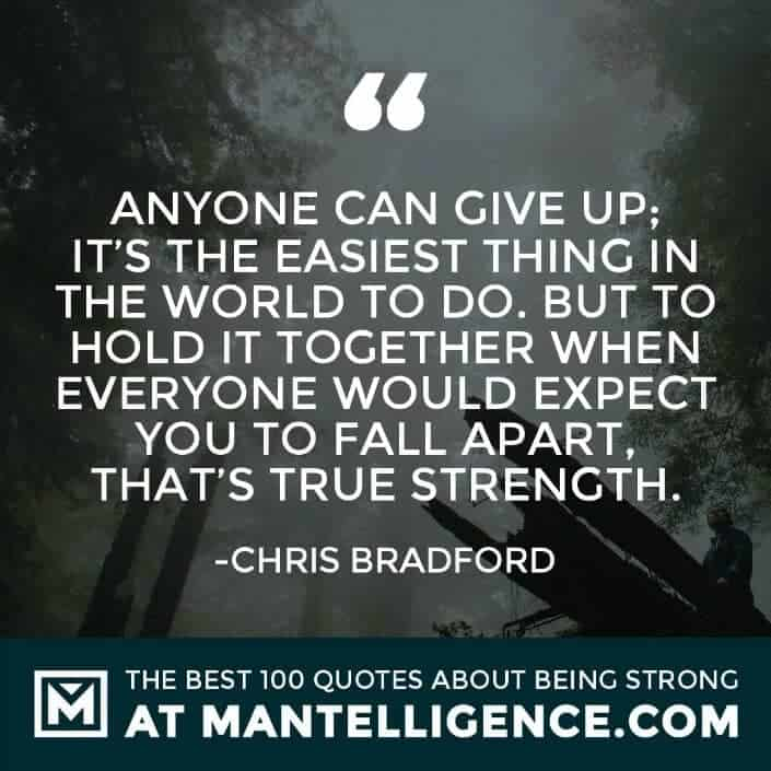 quotes about strength #25 - Anyone can give up; it's the easiest thing in the world to do. But to hold it together when everyone would expect you to fall apart, that's true strength.