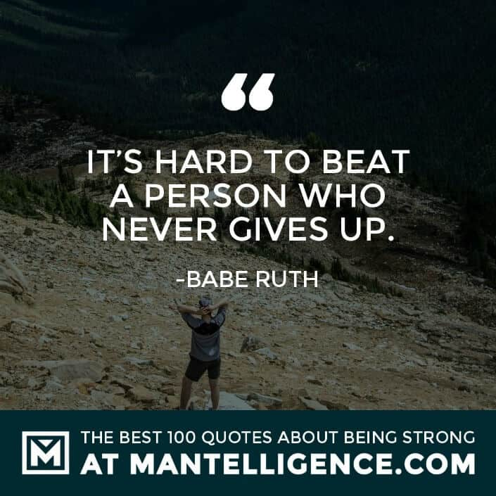 quotes about strength #70 - It's hard to beat a person who never gives up.