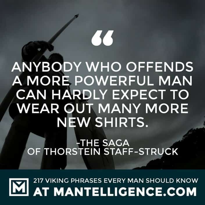 Viking Quotes - Anybody who offends a more powerful man can hardly expect to wear out many more new shirts.