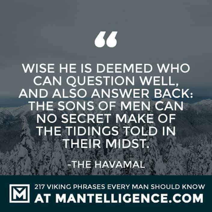 Havamal Quotes - Wise he is deemed who can question well, and also answer back: the sons of men can no secret make of the tidings told in their midst.