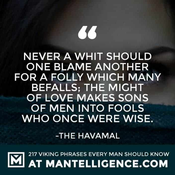 Havamal Quotes - Never a whit should one blame another for a folly which many befalls; the might of love makes sons of men into fools who once were wise.