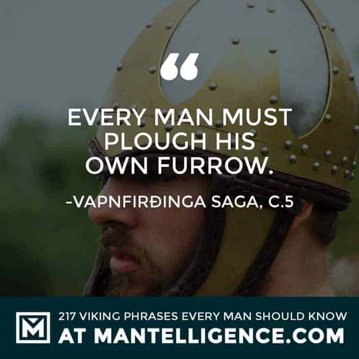 Viking Quotes - Every man must plough his own furrow.