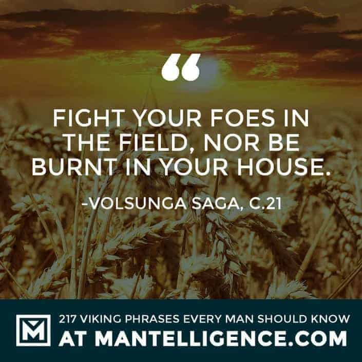 Viking Quotes - Fight your foes in the field, nor be burnt in your house.