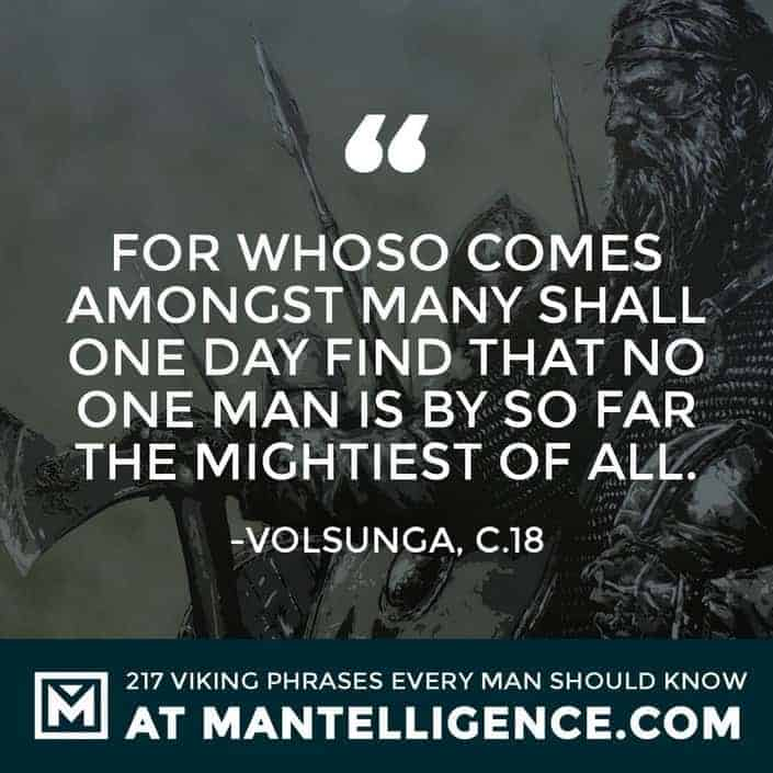 Viking Quotes - For whoso comes amongst many shall one day find that no one man is by so far the mightiest of all.