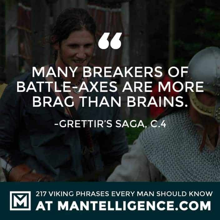 Viking Quotes - Many breakers of battle-axes are more brag than brains.