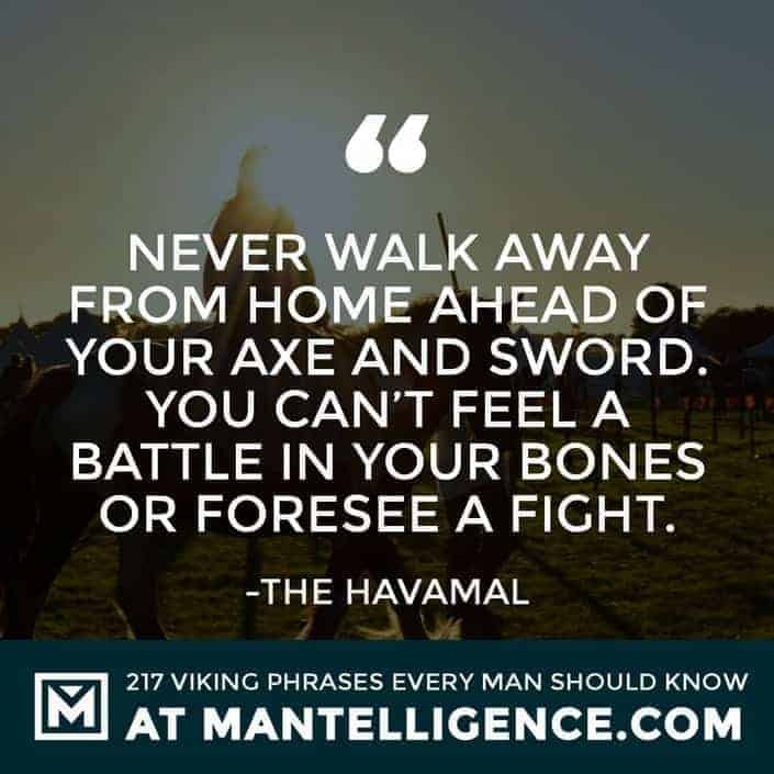 Havamal Quotes - Never walk away from home ahead of your axe and sword. You can't feel a battle in your bones or foresee a fight.