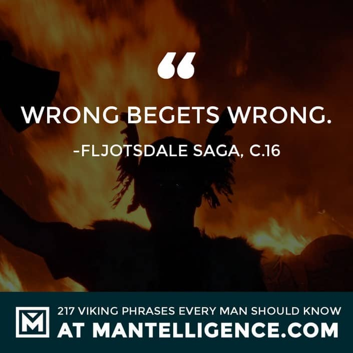 Viking Quotes - Wrong begets wrong.