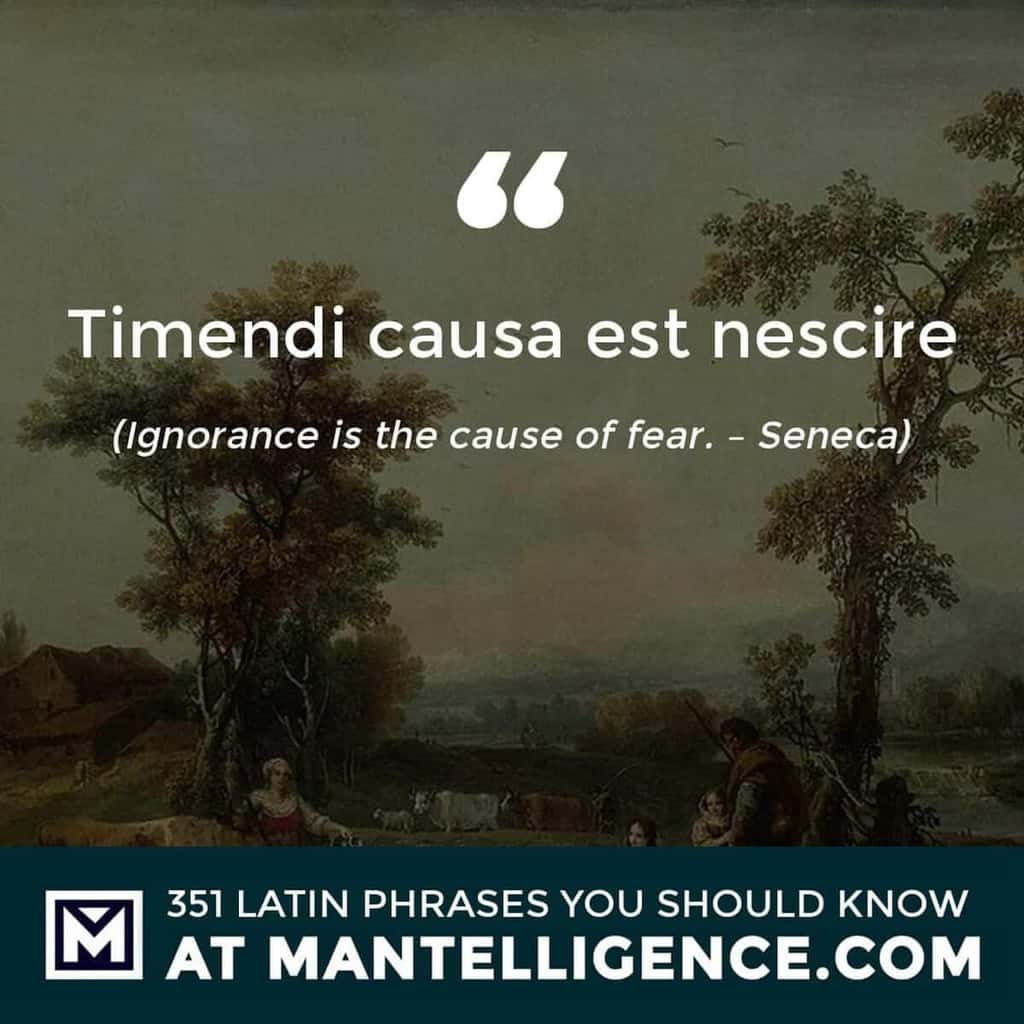 latin quotes - Timendi causa est nescire - Ignorance is the cause of fear. - Seneca