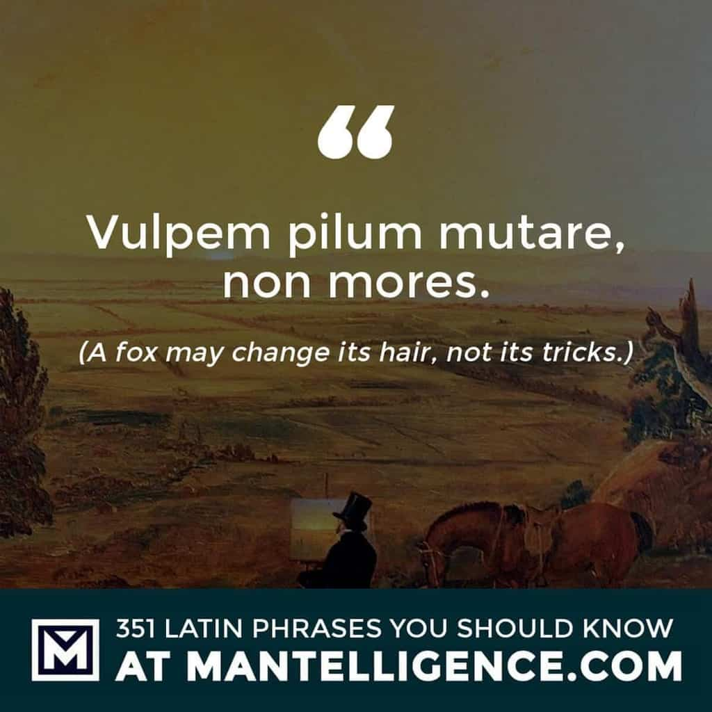 latin quotes - Vulpem pilum mutare, non mores. - A fox may change its hair, not its tricks.