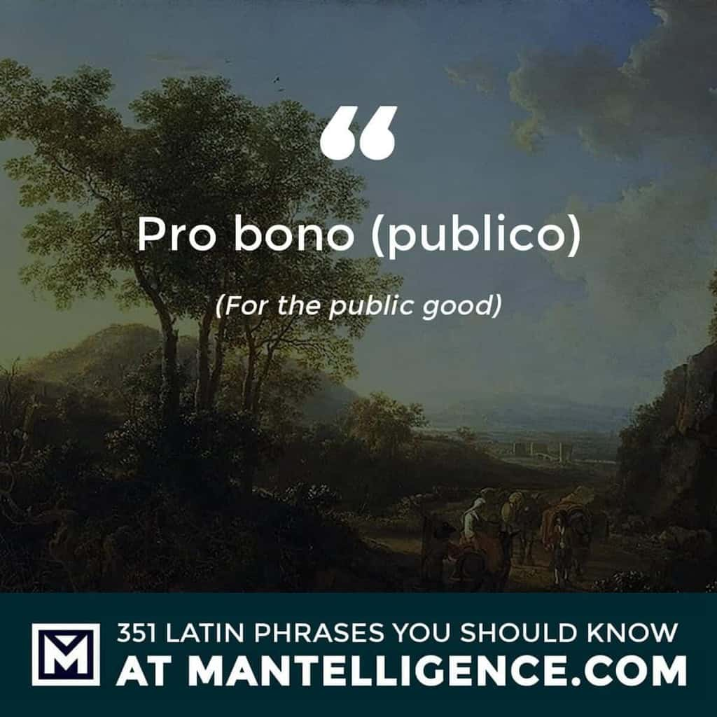 Pro bono (publico) - For the public good