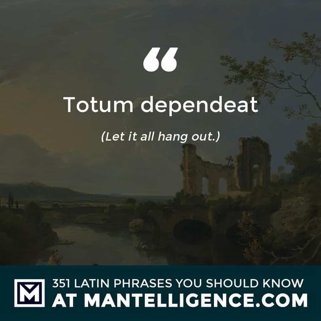 Totum dependeat - Let it all hang out.