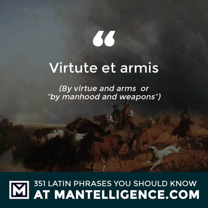 Virtute et armis - By virtue and arms  or by manhood and weapons