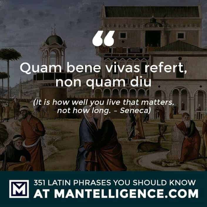 Quam bene vivas refert, non quam diu - It is how well you live that matters, not how long. - Seneca