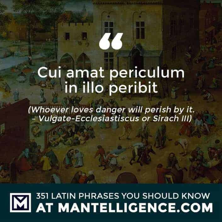 Cui amat periculum in illo peribit - Whoever loves danger will perish by it. - Vulgate-Ecclesiastiscus or Sirach III