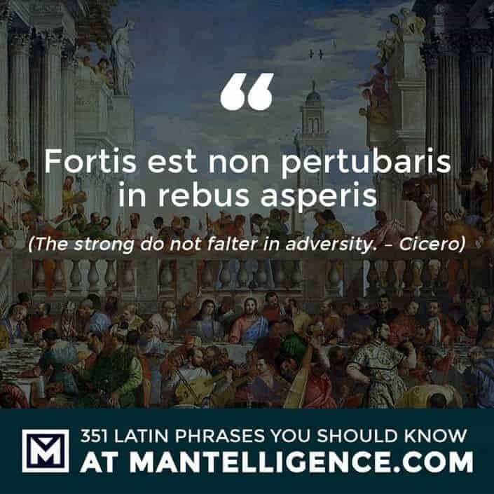 Fortis est non pertubaris in rebus asperis - The strong do not falter in adversity. - Cicero