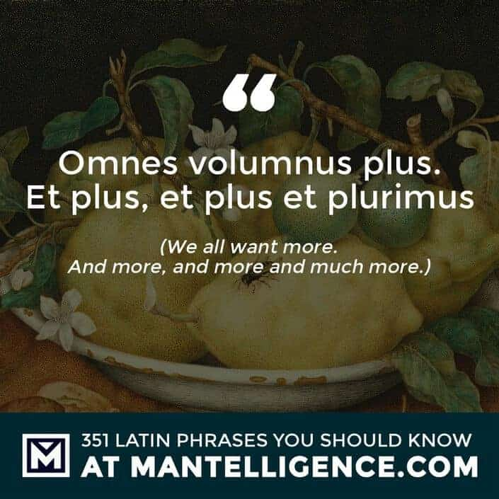 Omnes volumnus plus. Et plus, et plus et plurimus - We all want more. And more, and more and much more.