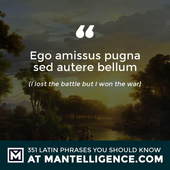 Ego amissus pugna sed autere bellum - I lost the battle but I won the war