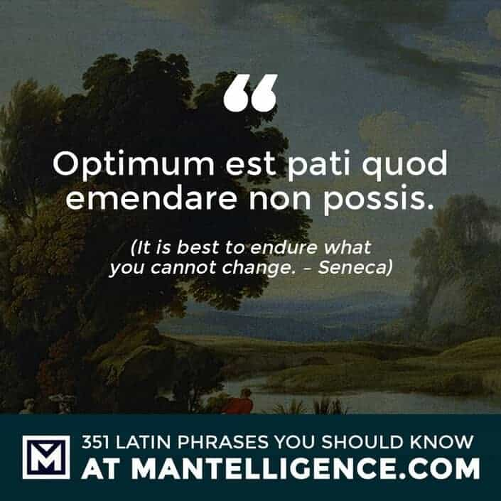 Optimum est pati quod emendare non possis. - It is best to endure what you cannot change. - Seneca