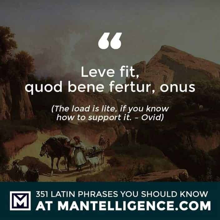 Leve fit, quod bene fertur, onus - The load is lite, if you know how to support it. - Ovid
