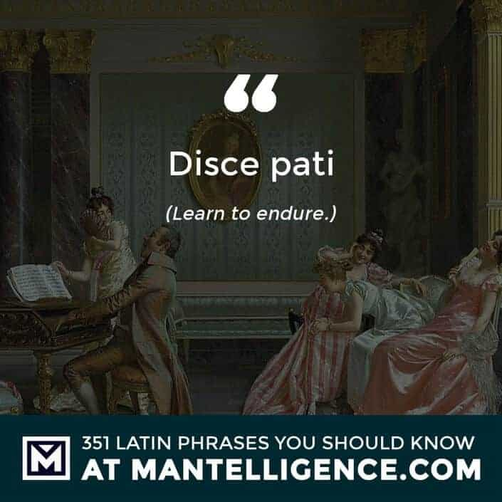latin quotes - Disce pati - Learn to endure.