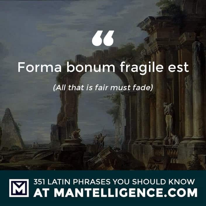 Forma bonum fragile est - All that is fair must fade