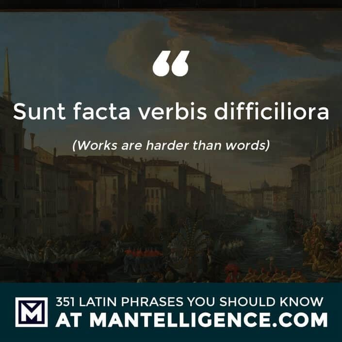 latin quotes - Sunt facta verbis difficiliora - Works are harder than words