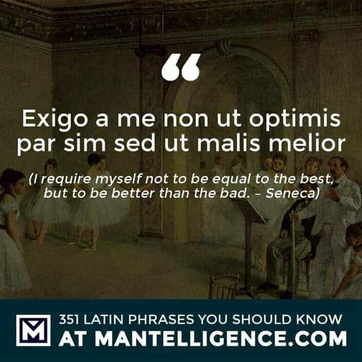 Exigo a me non ut optimis par sim sed ut malis melior - I require myself not to be equal to the best, but to be better than the bad. - Seneca