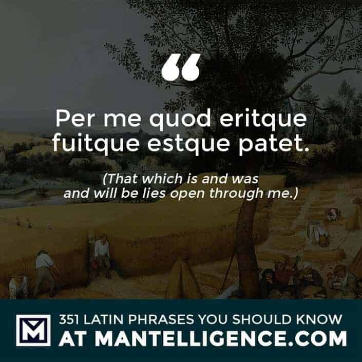 latin quotes - Per me quod eritque fuitque estque patet. - That which is and was and will be lies open through me.