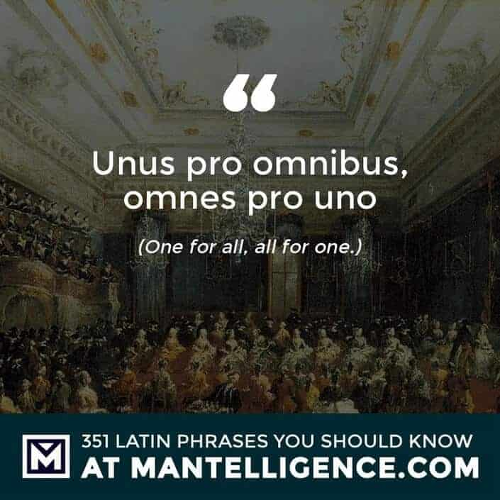 Unus pro omnibus, omnes pro uno - One for all, all for one.