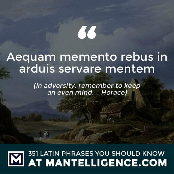Aequam memento rebus in arduis servare mentem - In adversity, remember to keep an even mind. - Horace