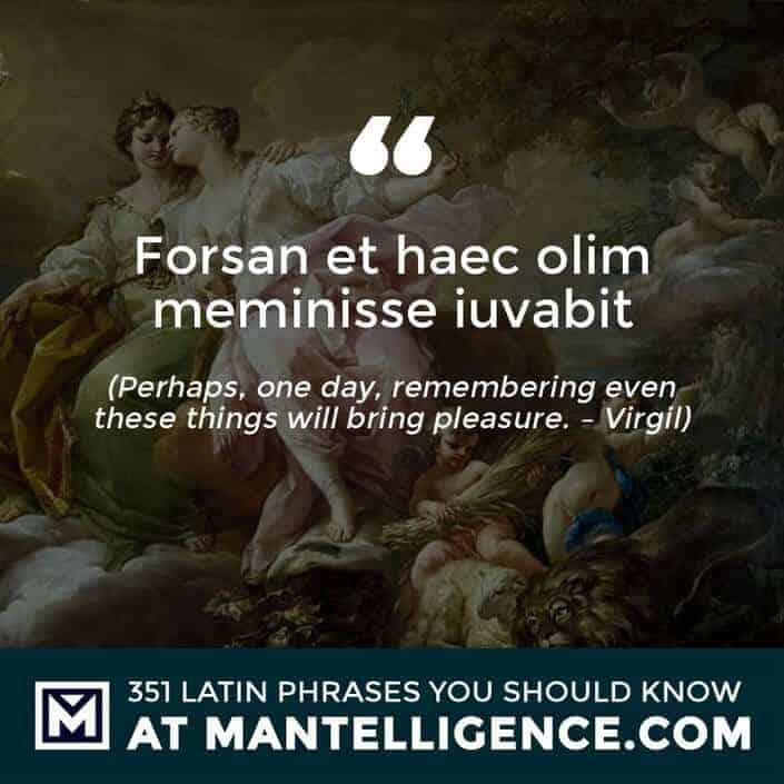 Forsan et haec olim meminisse iuvabit - Perhaps, one day, remembering even these things will bring pleasure. - Virgil