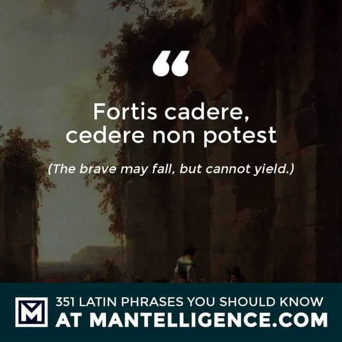 latin quotes - Fortis cadere, cedere non potest - The brave may fall, but cannot yield.