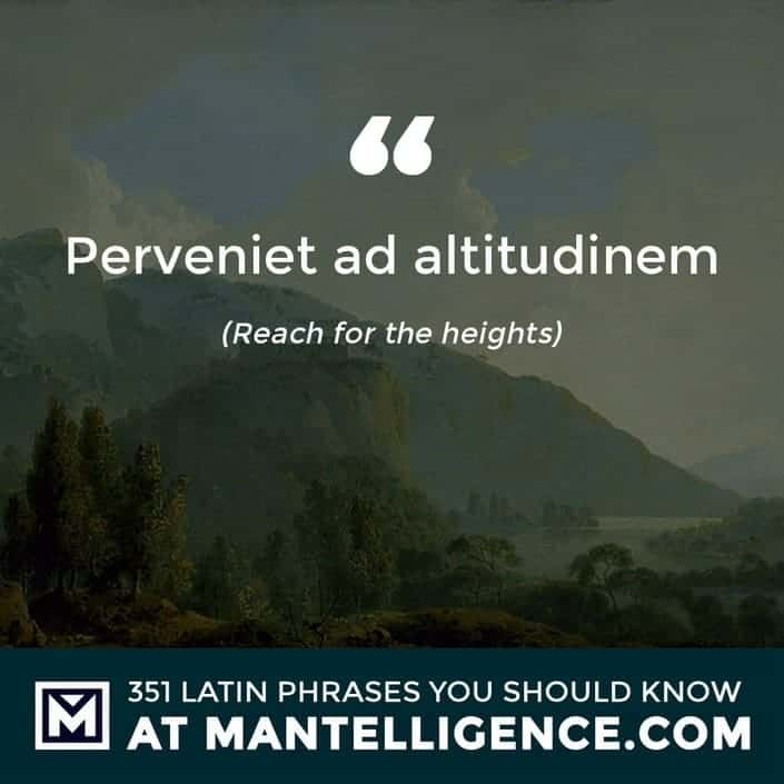 latin quotes - Perveniet ad altitudinem - Reach for the heights