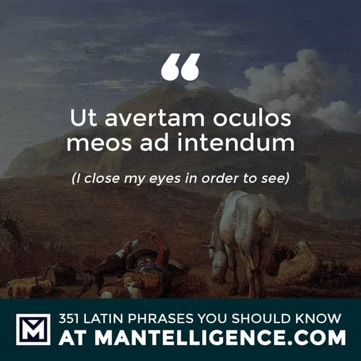 latin quotes - Ut avertam oculos meos ad intendum - I close my eyes in order to see
