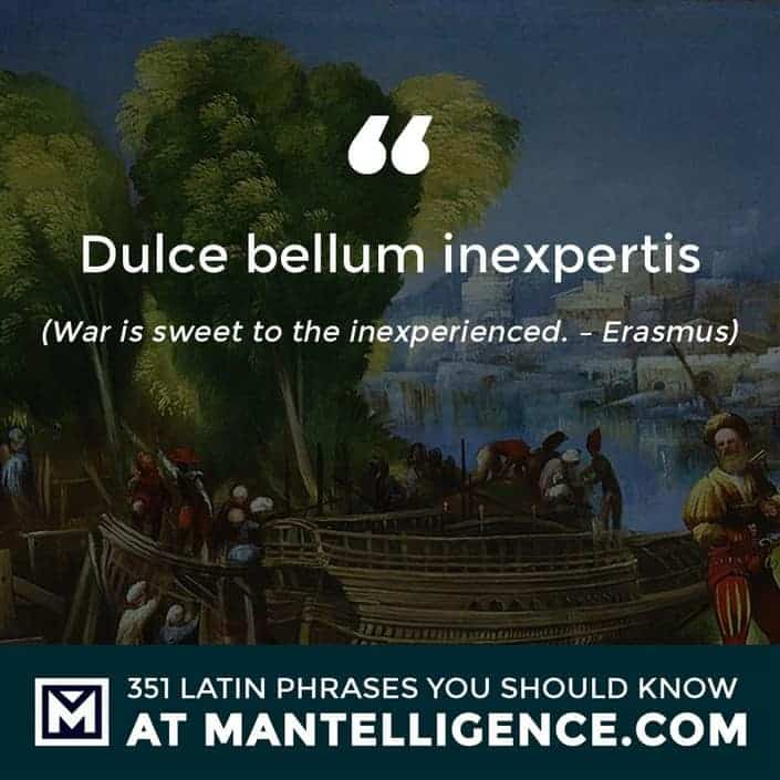 Dulce bellum inexpertis - War is sweet to the inexperienced. - Erasmus