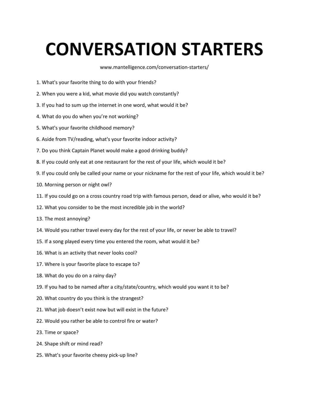 Downloadable and Printable List of Conversation Starters as jpg or pdf