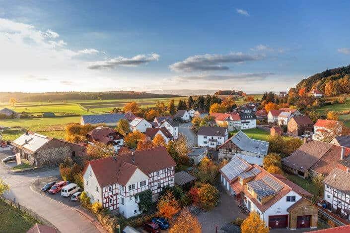 Houses in a suburban neighborhood.